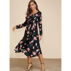 Nadrukowana/Kwiatowy Długie rękawy W kształcie litery A Przyjęcie/Elegancki Midi Sukienki