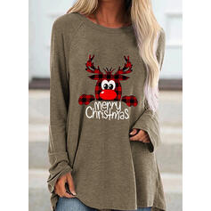 Motif Animal Grille Figure Col rond Manches longues Sweat de Noël
