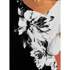 Renkli klişe Floral Imprimeu Decolteu în V Mâneci Lungi Tişörtler