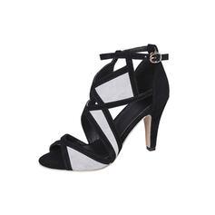 Vrouwen Suede Stiletto Heel Pumps Peep Toe met Gesp schoenen