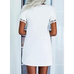 Pevný Krajka Krátké rukávy Šaty Shift Nad kolena Neformální/Elegantní Tunika Šaty