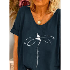 Animal Print Figure Round Neck Short Sleeves T-shirts