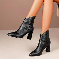 Mulheres PU Salto robusto Bota no tornozelo Dedo pontudo com Fivela Zíper Aplicação de renda sapatos