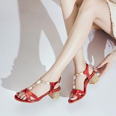 Femmes PU Talon bottier Sandales À bout ouvert avec Perle d'imitation Boucle Talon de bijoux chaussures
