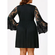 Lace/Solid Long Sleeves/Flare Sleeves Sheath Above Knee Little Black/Elegant Dresses