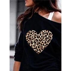 Leopard One Shoulder Lange Ärmel Pullover