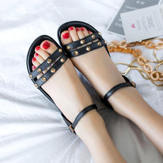 Women's Real Leather Flat Heel Sandals Flats Peep Toe Slingbacks With Rivet Buckle shoes