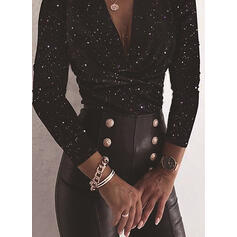 Solid Sequins V-Neck Long Sleeves Elegant Blouses