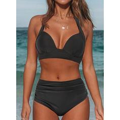 Enfärgad Hög Midja Rem V-ringning Sexig Extra stor storlek bikini Badkläder