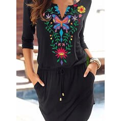 Floral/Animal Print Long Sleeves Sheath Above Knee Casual/Vacation Dresses