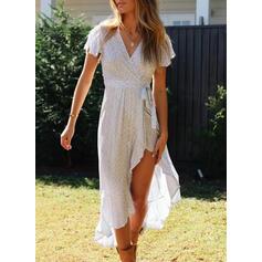 Print/Floral Short Sleeves A-line Asymmetrical Casual/Elegant Dresses