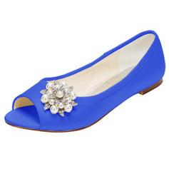 Women's Silk Like Satin Flat Heel Flats Peep Toe