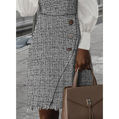 Plaid Long Sleeves/Lantern Sleeve Bodycon Knee Length Casual Pencil Dresses