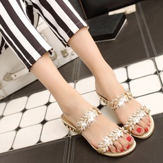 Women's Real Leather Low Heel Sandals MaryJane Beach Wedding Shoes With Rhinestone