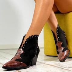 Dla kobiet PU Obcas Slupek Kozaki Botki Z Nit Klamra obuwie
