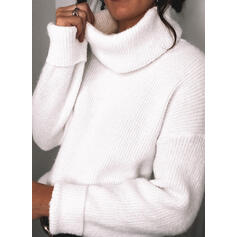 Solid Turtleneck Casual Trøjer