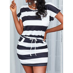 Striped Short Sleeves Bodycon Above Knee Casual Dresses