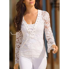 Solid Lace Lace-up V-Neck Long Sleeves Elegant Blouses