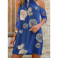 Lace/Floral/Animal Print Short Sleeves/Cold Shoulder Sleeve Shift Above Knee Casual/Vacation Tunic Dresses