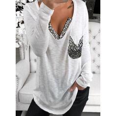 Pailletten V-hals Lange Mouwen Casual Overhemd