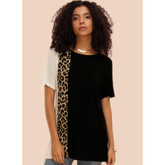 Color Block Animal Print Round Neck Short Sleeves Casual Blouses