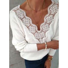 Solid Lace V-neck Long Sleeves Casual Knit Blouses