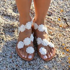Dámské PU Placatý podpatek Sandály Boty Bez Podpatku S otevřenou špičkou S Květiny obuv