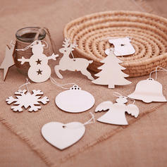 Bell Snowman Reindeer Christmas Tree Star Wooden Tree Hanging Ornaments Christmas Décor (Set of 10)