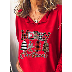 Print Figuur V-hals Lange Mouwen Casual Kerstmis Overhemd