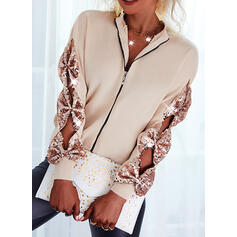 Solid Sequins Round Neck Casual Cardigan