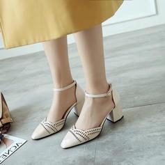 Mulheres Couro Salto robusto Sandálias Bombas Fechados Mary Jane com Fivela sapatos
