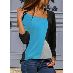 Color Block V-Neck Long Sleeves Casual T-shirt
