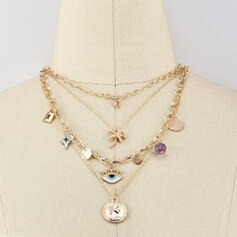 Boho Layered Alloy With Eye Coin Necklaces (Set of 4)