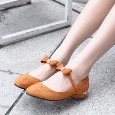 Femmes Suède Talon plat Chaussures plates Bout fermé avec Bowknot chaussures