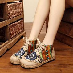 Femmes Tissu Talon plat Chaussures plates Bout fermé Bottes avec Dentelle chaussures
