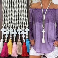 Elegáns Egyszerű Fa gyöngyök -Val bojt Női nyakláncok