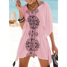 Floral Print V-Neck Eye-catching Boho Cover-ups Swimsuits