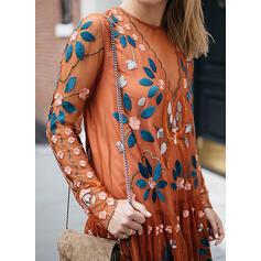 Print/Floral Long Sleeves Shift Above Knee Casual/Elegant Dresses