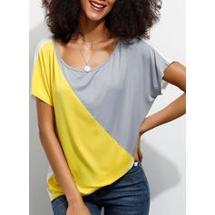 Colorblock Kerek nyak Rövidujjú Hétköznapokra robić na drutach Μπλουζάκια