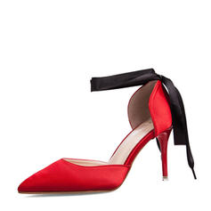 De mujer Satén Tacón stilettos Sandalias Salón Cerrados con Bowknot Hebilla zapatos