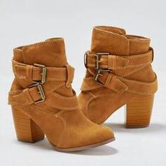 Femmes Suède Talon bottier Bottines avec Boucle chaussures