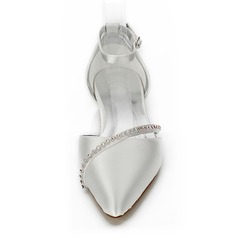 Frauen Satin Flascher Absatz Geschlossene Zehe Färbbare Schuhe mit Strass