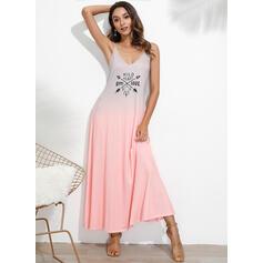 Nadrukowana/Tie Dye Bez rękawów W kształcie litery A Casual/Wakacyjna Maxi Sukienki