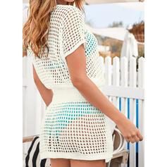 Solid Color Mesh V-Neck Elegant Bohemian Cover-ups Swimsuits