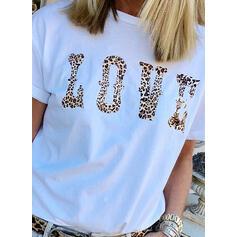 Estampado Leopardo Gola Redonda Manga Curta Casual Camisetas