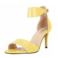 Women's Patent Leather Stiletto Heel Sandals Peep Toe shoes