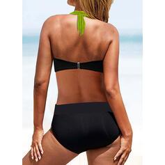 Splice kleur Halter Sexy Boho Bikini's Badpakken