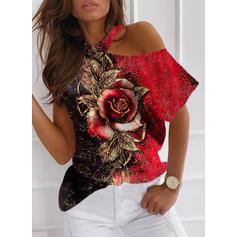 Nadruk Blok Kolorów Kwiatowy Na jedno ramię Krótkie rękawy Casual Bluzki