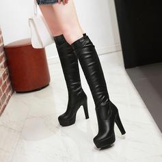 Femmes PU Talon bottier Escarpins Plateforme Bottes hautes avec Zip chaussures