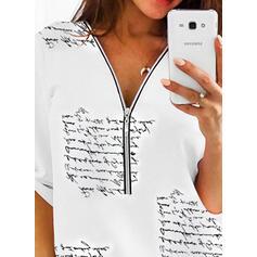 Print V-hals 1/2 ærmer Casual Skjorter